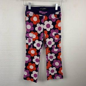 Mini Boden Floral Corduroy Bootcut Pants